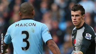 Maicon (left) and Gareth Bale (right)