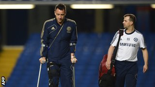 Terry left Stamford Bridge on crutches after he was forced off against Liverpool