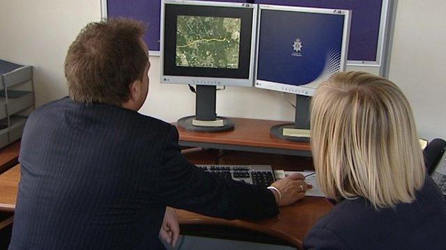 Police showing on a computer the route Rimas Venclovas took to Poland