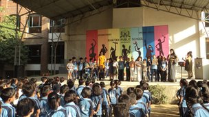 Khaitan Public School in their unity assembly