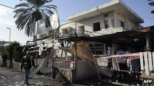 Damaged house in Netivot, Israel