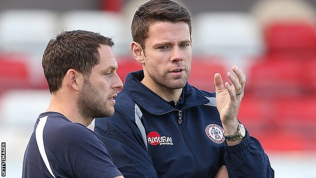 Accrington Stanley manager Leam Richardson and player-coach James Beattie