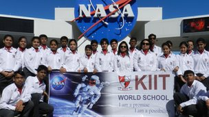 Pupils from KIIT outside The National Aeronautics and Space Administration (NASA)