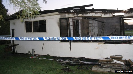 Bradfield Cricket Club pavilion following the arson attack in November 2011