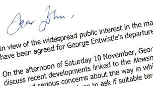Extract of Chris Patten's letter to John Whittingdale