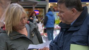 BBC's Len Tingle explains the voting system to shoppers in Barnsley