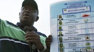Julius Maada Bio, presidential candidate for the Sierra Leone People&quot;s Party (SLPP), addresses his supporters during an election rally in the town of Moyamba in the southern province of Sierra Leone November 11, 2012. 