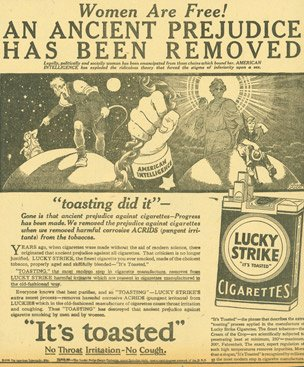  A 1929 ad for Lucky Strike targeting women