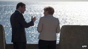 Pedro Passos Coelho and Angela Merkel at Sao Juliao da Barra fortress in Oeiras, near Lisbon, 12 Nov