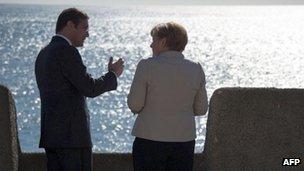 Pedro Passos Coelho and Angela Merkel at Sao Juliao da Barra fortress in Oeiras, near Lisbon, 12 Nov