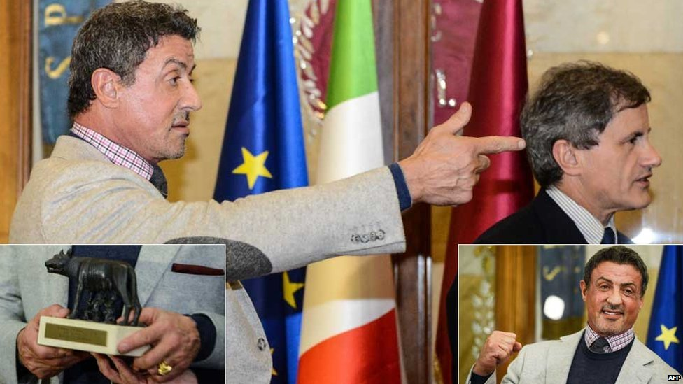 Sylvester Stallone with Gianni Alemanno, mayor of Rome