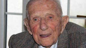 Sam Ledward as he celebrated his 106th birthday at the weekend