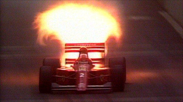Nigel Mansell's engine explodes