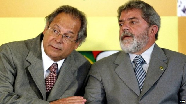 Jose Dirceu (left) and President Lula in 2004