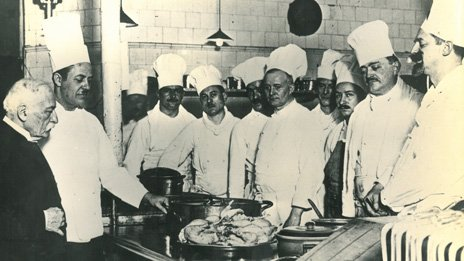 August Escoffier with kitchen staff