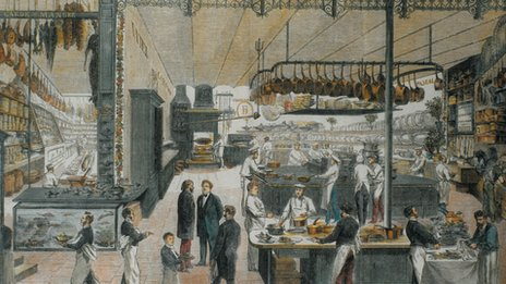 Mural of the Cafe Riche and its kitchen staff in 1865
