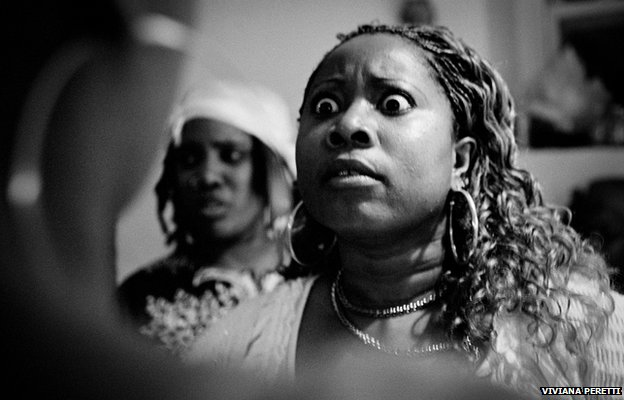 A Haitian woman during a vodou ceremony in New York