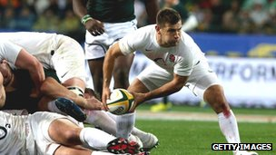 Danny Cave of England passes the ball in a match against South Africa in June