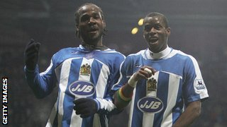 Pascal Chimbonda and Henri Camara celebrate a goal for Wigan in 2005