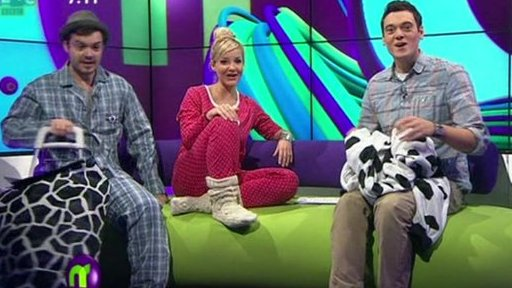 Blue Peter presenters Helen and Barney invading Newsround while Joe is presenting