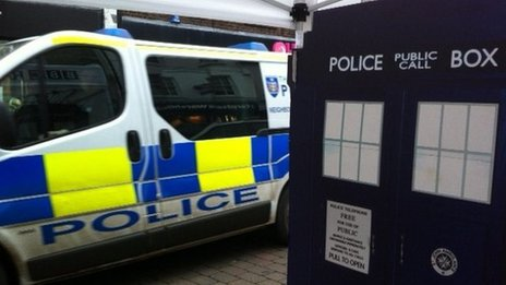 BBC Police Box in front of a police car