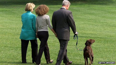 "The Clinton family - with dog, Buddy - leave the White House for a holiday, a day after Bill Clinton admitted an ""improper relationship"" with former White House intern Monica Lewinsky"