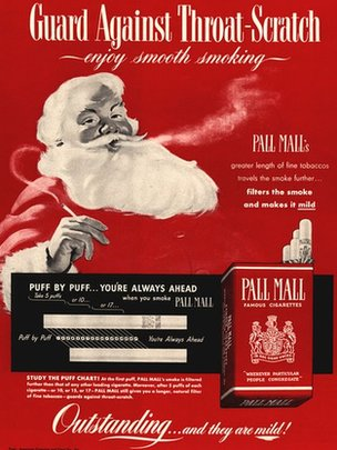 Illustration of Father Christmas smoking a Pall Mall cigarette