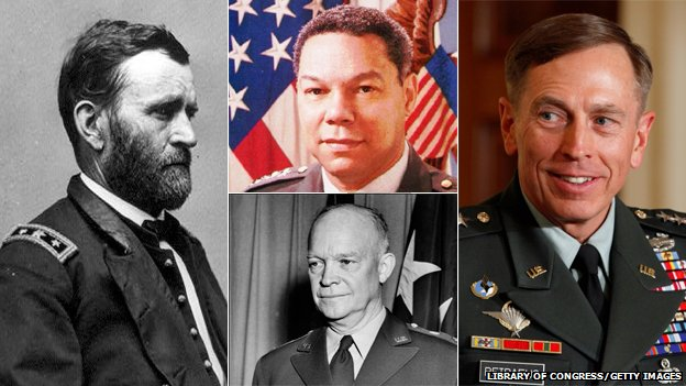 Famous American generals: Clockwise from left, Grant, Powell, Petraeus and Eisenhower