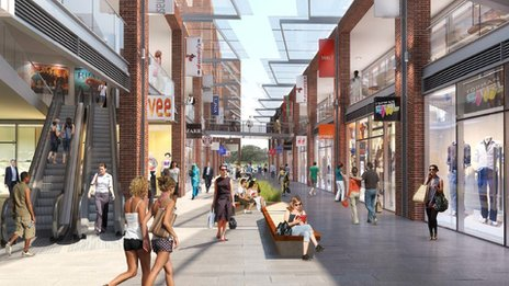 Computer generated image of Addlestone town centre regeneration plan