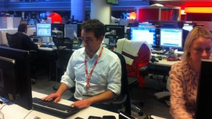 Dominic Casciani answering tweets in the live Q &amp; A in the BBC Newsroom