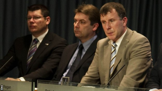 The chief executives: Neil Doncaster of the SPL, David Longmuir of the SFL and Stewart Regan of the SFA