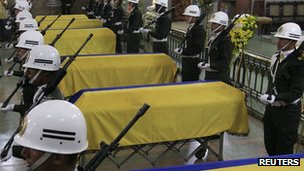 Coffins of soldiers killed by the Farc, 31 Oct 2012