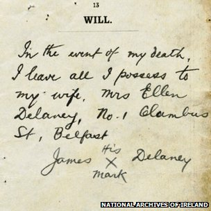 Shot of James Delaney's will