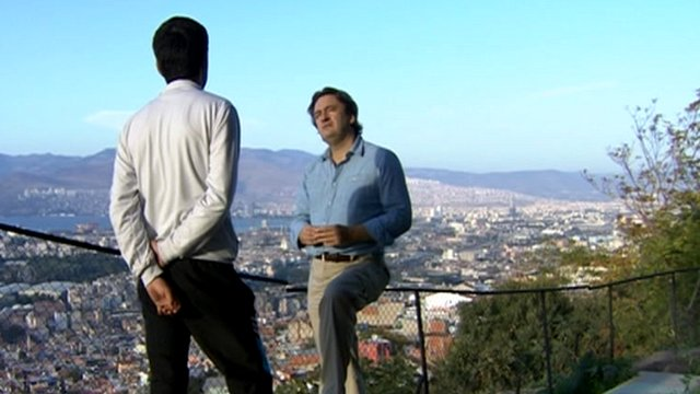 Anonymous defector, fleeing Syria, speaks to the BBC's Fergal Keane