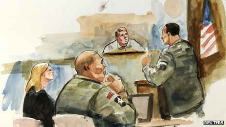 This courtroom artist&#039;s sketch shows Staff Sgt Robert Bales (2nd L), his civilian defence attorney Emma Scanlan (L) and presiding investigation officer Col Lee Deneke (C) listening to prosecuting military attorney Maj Rob Stelle (R) give his closing argument
