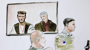 n this courtroom sketch, US Army Staff Sgt Robert Bales, seated lower left, is shown as he watches testimony from a man named Faizullah, who is shown on a video monitor. At right is military prosecutor Lt Col Jay Morse.