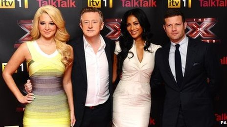 X Factor judges Tulisa, Louis and Nicole with presenter Dermot O&#039;Leary
