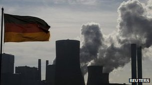 German flag at RWE coal-fired power station