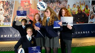 The winning PL challenge team from  St Michael&#039;s RC school in Billingham, representing  Football League team Middlesbrough FC