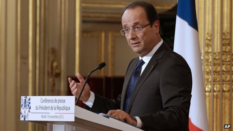 French President Francois Hollande speaks to journalists at a press conference in Paris