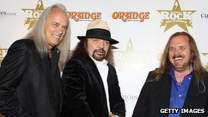 Rickey Medlocke, Gary Rossington and Johnny Van Zant of Lynyrd Skynyrd
