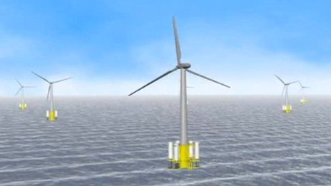 Artist's impression of wave power pods on wind turbines