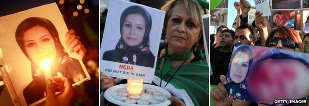 Campaigners using Neda Soltani&#039;s photo (Getty) NB the image of Neda Agha-Soltan on the protester&#039;s placard has been blurred