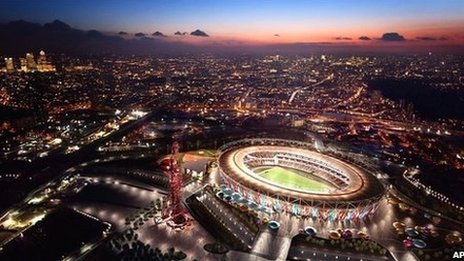 An artist&#039;s impression of the Olympic Stadium