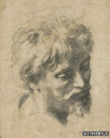 Drawing titled the Head of a Young Apostle by Raphael