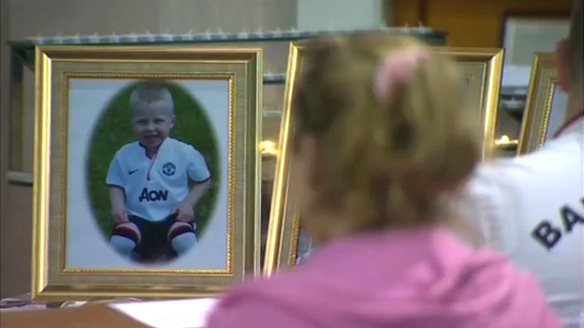 A photo of one of the children at the memorial service