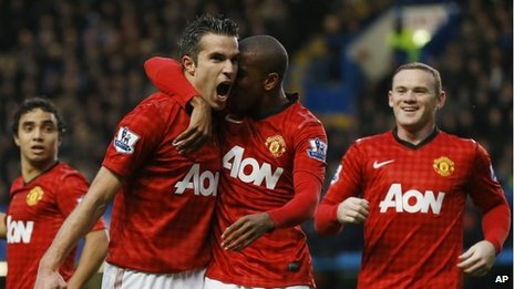 Man Utd's Robin van Persie, Ashley Young and Wayne Rooney