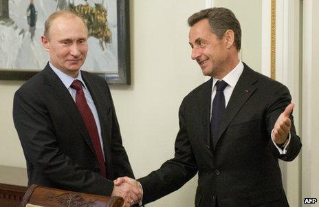 Nicolas Sarkozy (right) meets Russian President Vladimir Putin in Moscow, 14 November