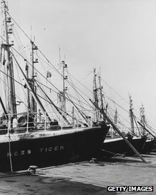A group of trawlers at Grimsby during the 1960s