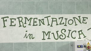 Fermentazione in Musica sign at the Birra Baladin brewery